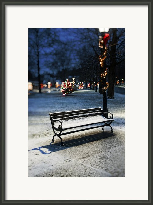 Winter Bench - Christmas Theme Framed Print By Thomas Schoeller