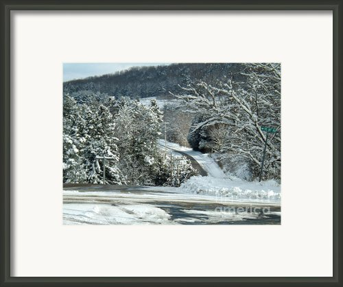 Winter Cross Roads Framed Print By Brenda Brown