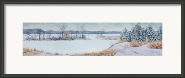 Winter Lake And Cedars Framed Print By Garry Mcmichael