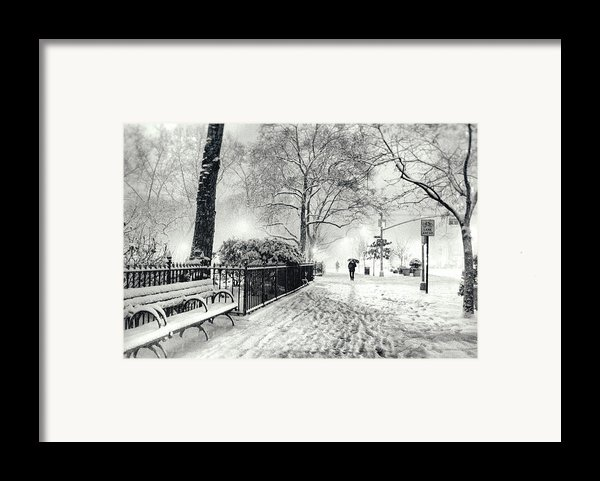 Winter Night - Snow - Madison Square Park - New York City Framed Print By Vivienne Gucwa