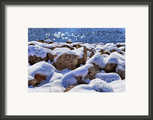 Winter On The Rocks Framed Print By Shutter Happens Photography