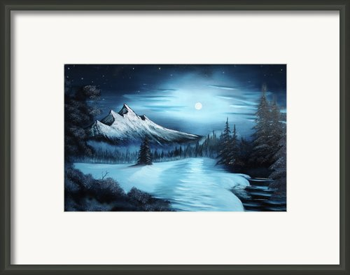 Winter Painting A La Bob Ross Framed Print By Bruno Santoro