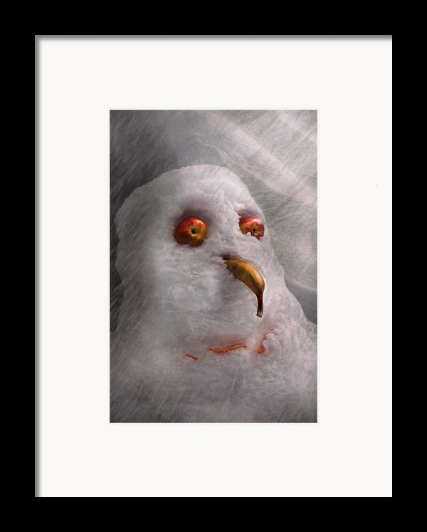 Winter - Snowman - What Are You Looking At Framed Print By Mike Savad