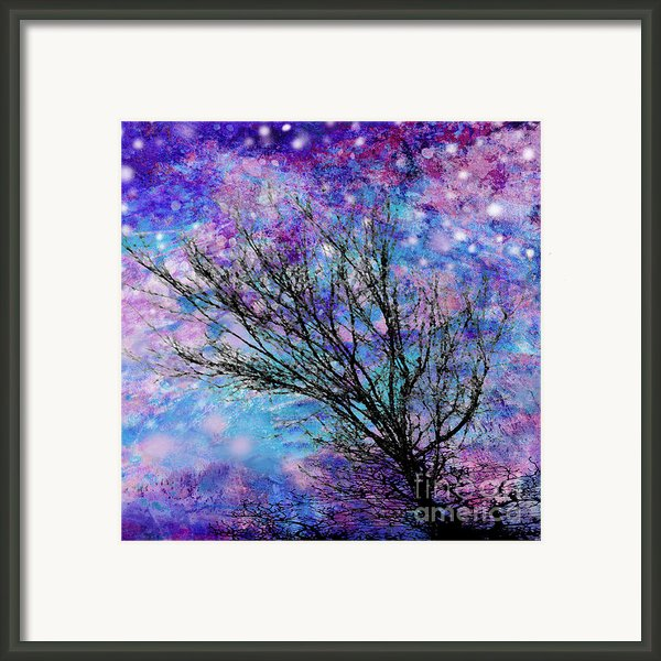 Winter Starry Night Square Framed Print By Ann Powell