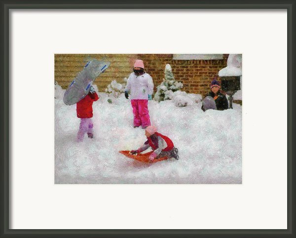 Winter - Winter Is Fun Framed Print By Mike Savad