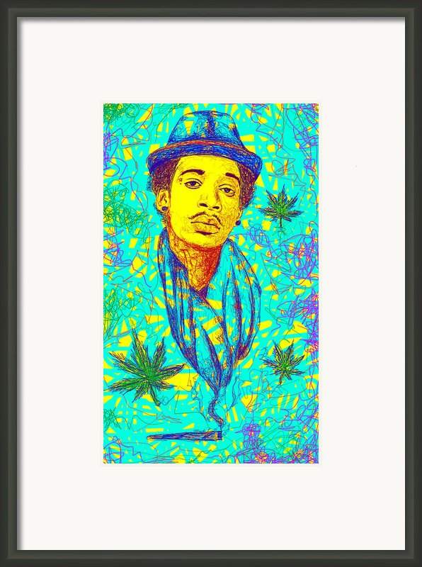 Wiz Khalifa Drawing In Line Framed Print By Kenal Louis