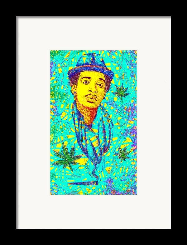 Wiz Khalifa Drawing In Line Framed Print By Kenal Louis