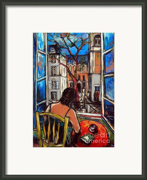 Woman At Window Framed Print By Emona Art