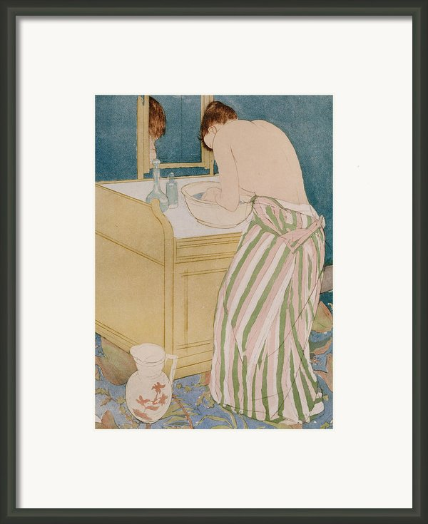 Woman Bathing Framed Print By Mary Stevenson Cassatt