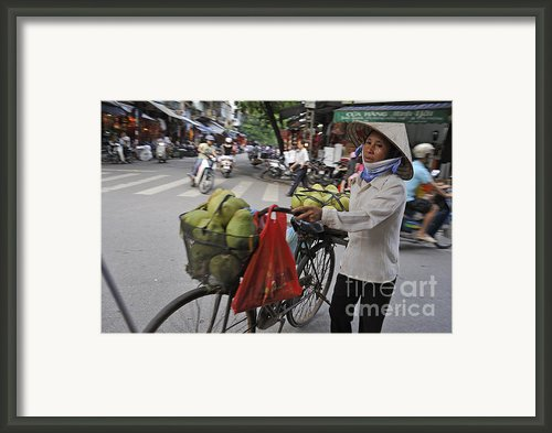 Woman Carrying Fruit On Bike Framed Print By Sami Sarkis