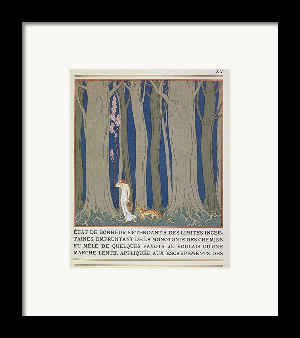 Woman Followed By A Leopard Framed Print By Georges Barbier
