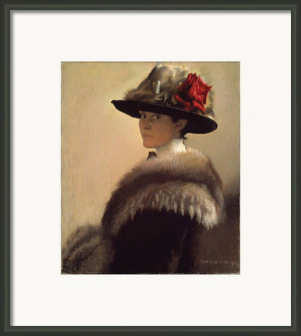 Woman In A Fur Hat Framed Print By Gretchen Woodman Rogers