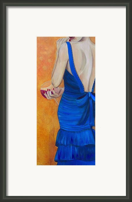 Woman In Blue Framed Print By Debi Pople