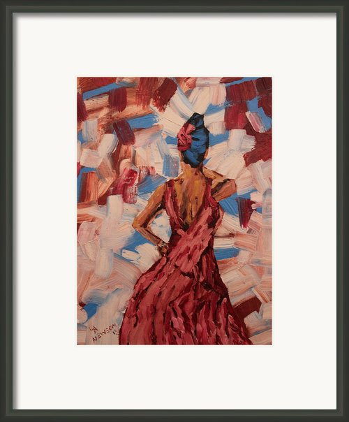 Woman In The Red Gown Framed Print By Lee Ann Newsom