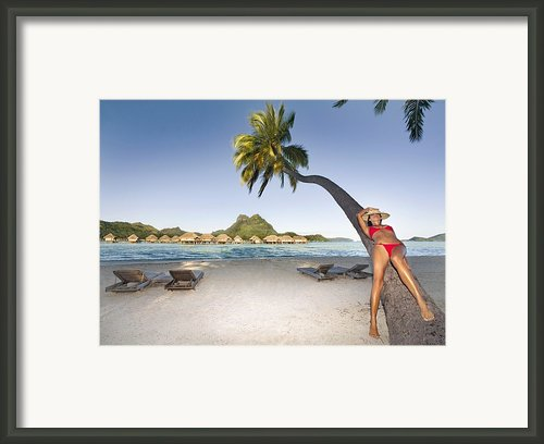 Woman Laying On A Tree Framed Print By M Swiet Productions
