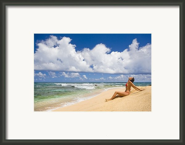 Woman On Beach Framed Print By M Swiet Productions