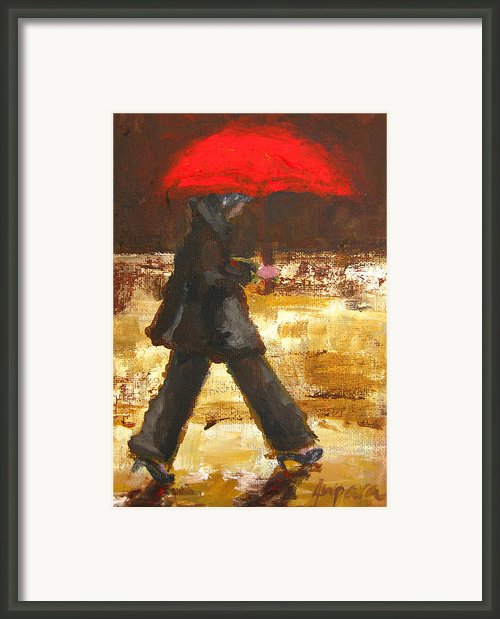 Woman Under A Red Umbrella Framed Print By Patricia Awapara