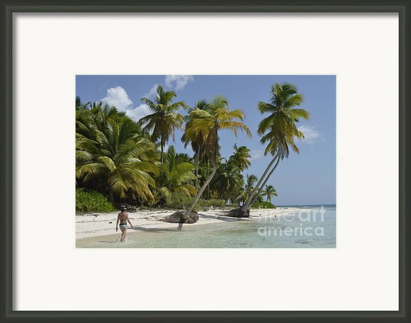 Woman Walking By Coconuts Trees On A Pristine Beach Framed Print By Sami Sarkis