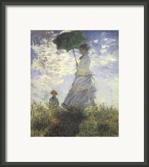 Woman With A Parasol Framed Print By Claude Monet