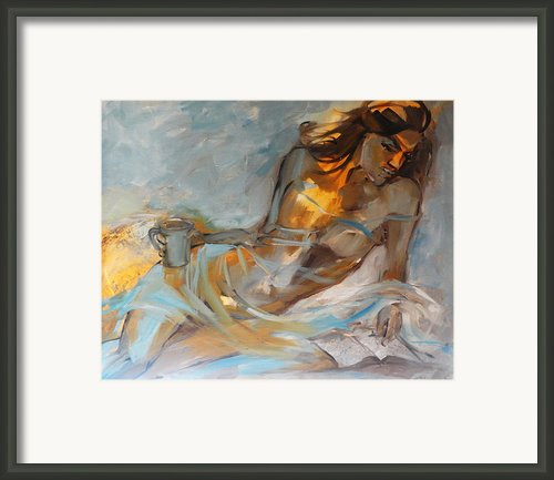 Woman With Book Framed Print By Nelya Shenklyarska