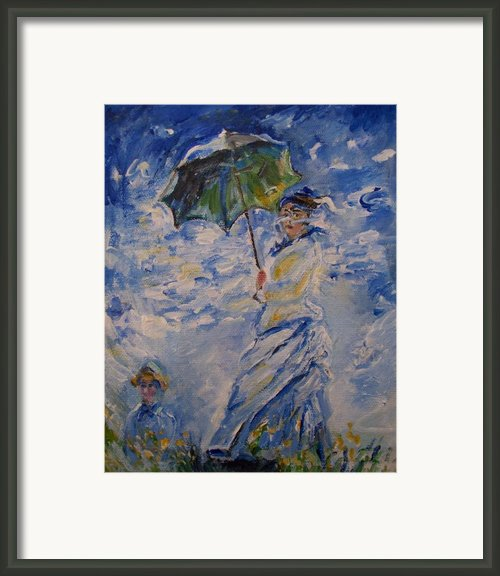 Woman With Parasol Monet Framed Print By Eric  Schiabor