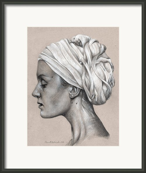 Woman With Turban Graphite Portrait Framed Print By Brent Schreiber