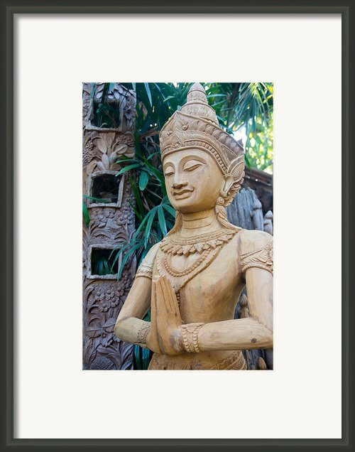 Wood Carving  Framed Print By Kobchai Sukruean