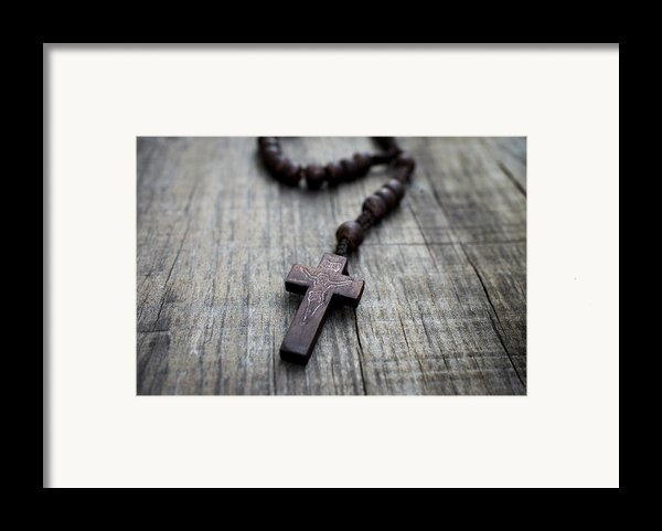 Wooden Rosary Framed Print By Aged Pixel