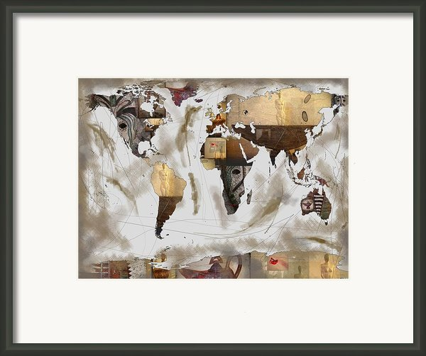 World Map Artefact Framed Print By Andre Pillay
