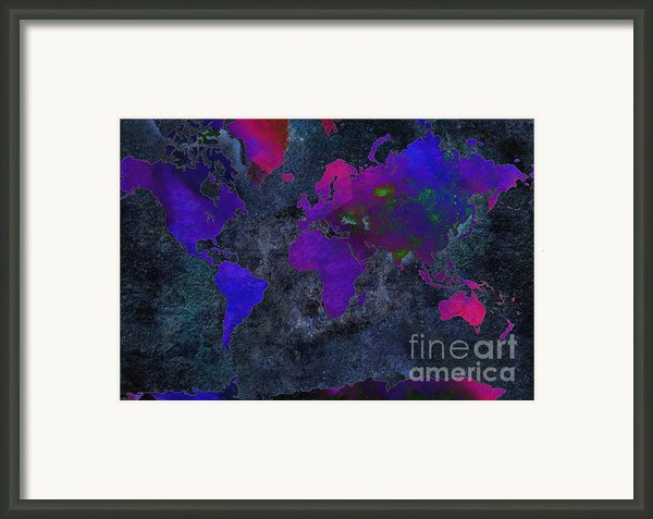 World Map - Purple Flip The Dark Night - Abstract - Digital Painting 2 Framed Print By Andee Photography