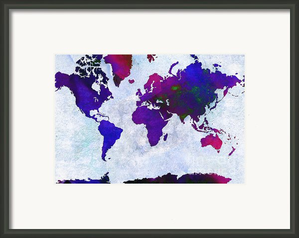 World Map - Purple Flip The Light Of Day - Abstract - Digital Painting 2 Framed Print By Andee Photography