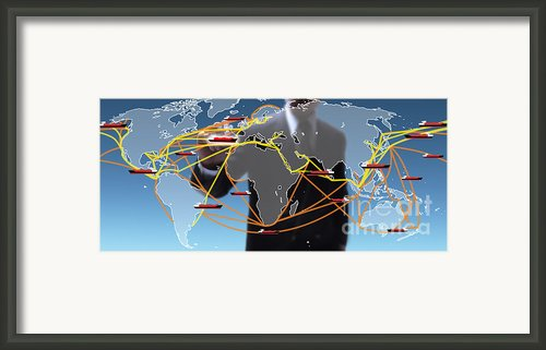 World Shipping Routes Map Framed Print By Atiketta Sangasaeng