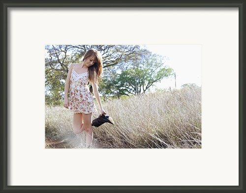Woung Woman In Field Framed Print By Brandon Tabiolo