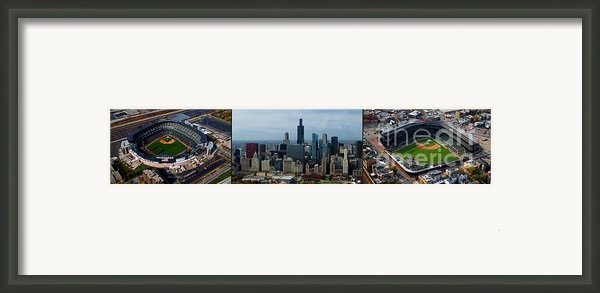 Wrigley And Us Cellular Fields Chicago Baseball Parks 3 Panel Composite 01 Framed Print By Thomas Woolworth