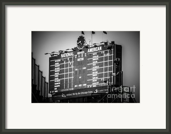 Wrigley Field Scoreboard Sign In Black And White Framed Print By Paul Velgos