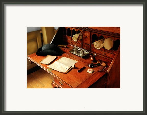 Writer - The Desk Of A Gentleman  Framed Print By Mike Savad