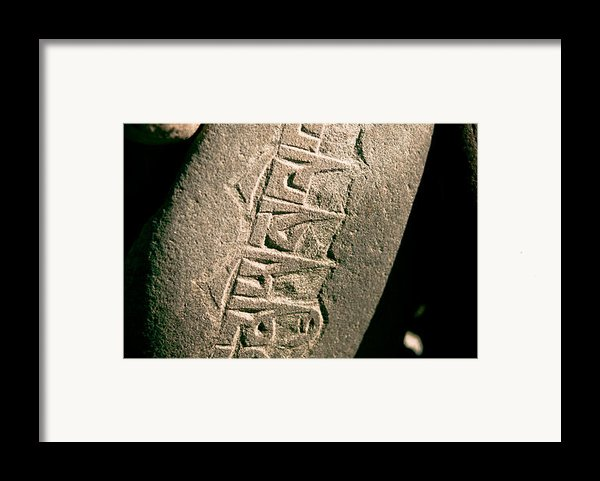 Writing On The Tibetan Language And Sanskrit At Stone Framed Print By Raimond Klavins