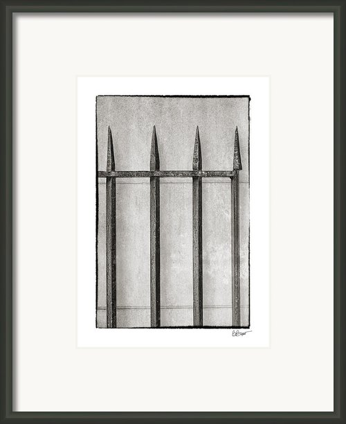 Wrought Iron Gate In Black And White Framed Print By Brenda Bryant