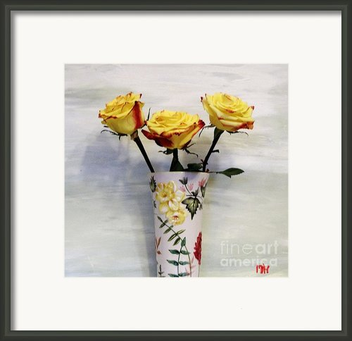 Yellow And Red Tipped Roses Framed Print By Marsha Heiken