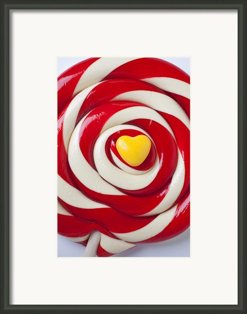Yellow Candy Heart On Sucker Framed Print By Garry Gay