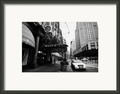 Yellow Taxi Cab Waits Outside Entrance To Macys Department Store On Broadway And 34th Street Framed Print By Joe Fox