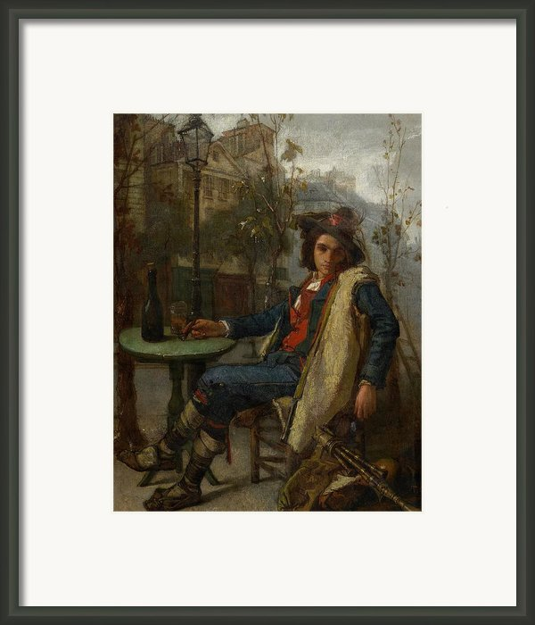 Young Italian Street Musician Framed Print By Thomas Couture