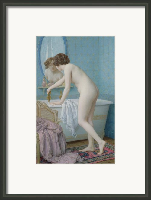 Young Woman Preparing Her Bath  Framed Print By Jules Scalbert