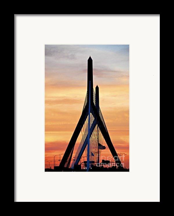 Zakim Bridge In Boston Framed Print By Elena Elisseeva