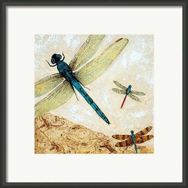 Zen Flight - Dragonfly Art By Sharon Cummings Framed Print By Sharon Cummings
