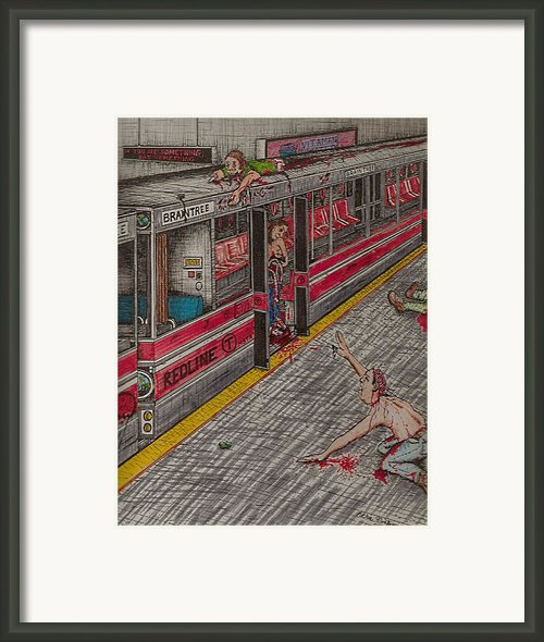 Zombies On The Red Line Framed Print By Richie Montgomery