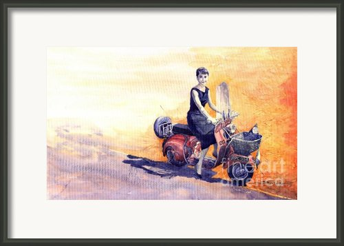 Audrey Hepburn And Vespa In Roma Holidey  Framed Print By Yuriy  Shevchuk