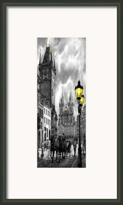 Bw Prague Old Town Squere Framed Print By Yuriy  Shevchuk