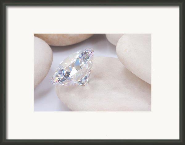 Diamond On White Stone Framed Print By Atiketta Sangasaeng