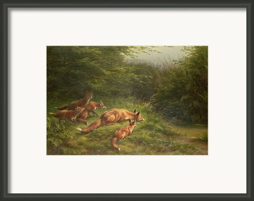Foxes Waiting For The Prey   Framed Print By Carl Friedrich Deiker